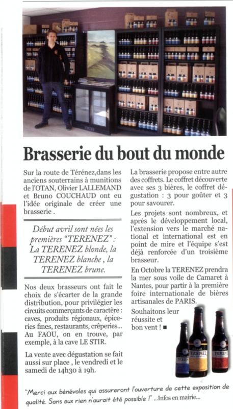 Article Brasserie du bout du monde dans la Gazette