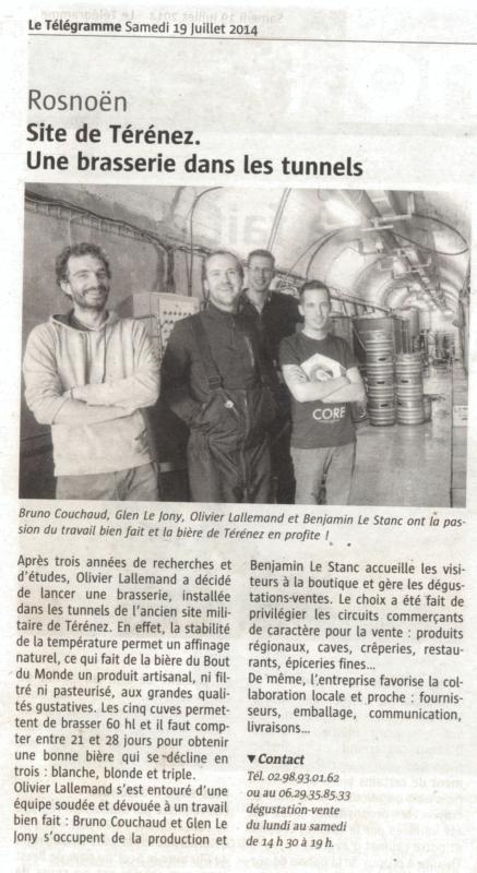 Rosnoën : Site de Térénez. Une brasserie dans les tunnels
